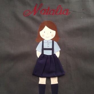 Bolsas uniforme de colegio nombre bordado.